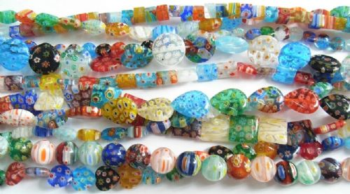 Handmade Millefiori Glass Beads Strands - Mixed Colours and shapes - Lucky Dip Pick